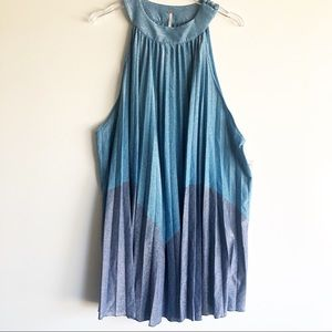 NEW Free People Pleated Love Mini Dress Metallic